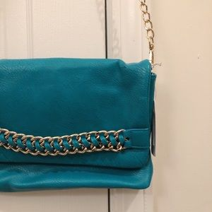 Teal clutch with Gold accents